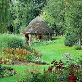 Bressingham Gardens by Bob White - City,  Street & Park  City Parks ( traquill, peaceful, park, thatched roof, gardens, tranquility, gazebo,  )