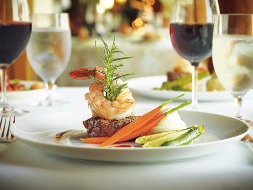 HAL-Land-&-Sea.jpg - Pair a surf-and-turf dish with a glass of wine on your Holland America sailing.