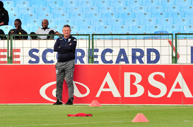 Bidvest Wits' head coach Gavin Hunt looks on during the warm-ups before their Absa Premiership encounter against Mamelodi Sundowns at Loftus Stadium, Pretoria on 14 April 2018.