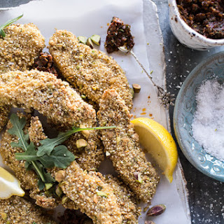 Pistachio Quinoa Dukkah Crusted Chicken Fingers with Sun-dried Tomato Pesto.