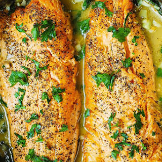 Trout with Garlic Lemon Butter Herb Sauce.