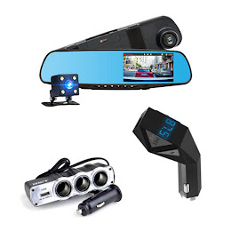 Camera dubla Full HD + Car Kit Bluetooth N8 + Priza tripla USB