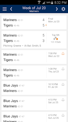 Baseball Schedule for Mariners