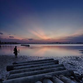 Alone in the beach by Fariz Mohammad - Landscapes Beaches ( sunset, fine art, sunrise, beach, landscape )
