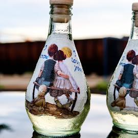 Love in the bottle by Josip Alar - Wedding Details ( love, rakija, slavonski, sunset, brod, wedding, croatia, orangina, bottle, trains )