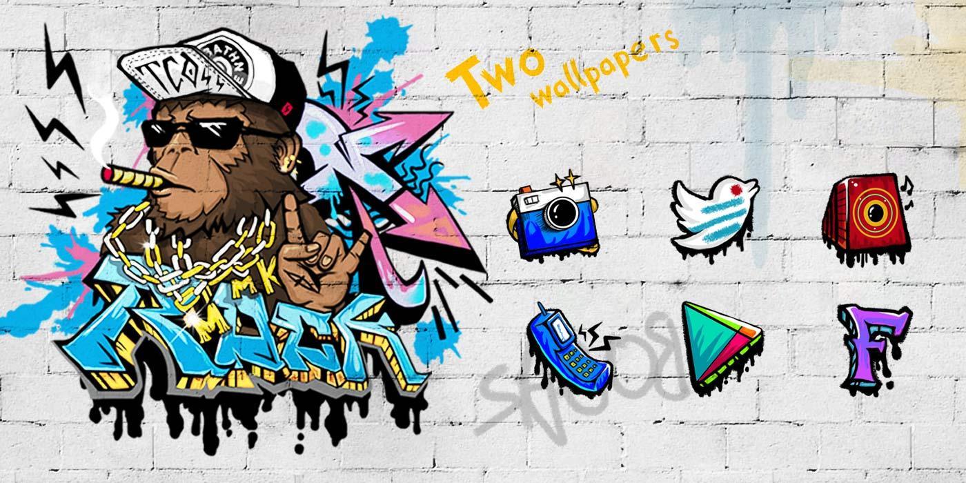 Google themes graffiti - Rock Graffiti Golauncher Theme Screenshot