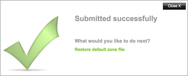 「Submitted successfully」のメッセージ
