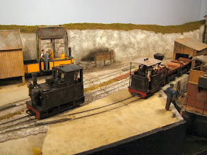 """Photo: 013 A final view across Portpyn showing both the new locos and in the background, Christopher Payne's tribute to the Craigcorrie and Dunalistair: George England 0-4-0T+T loco """"Polet"""""""
