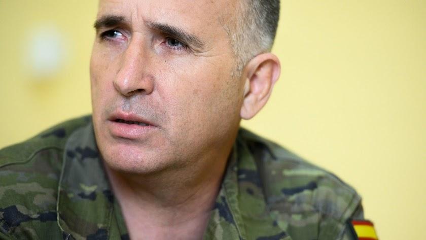 El general Marcos Llago, fotografiado por Juan Sánchez en un momento de la entrevista.