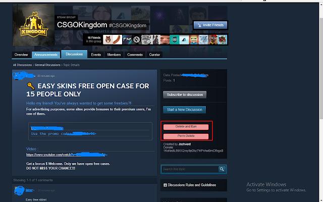 Steam Group Thread Quick Delete