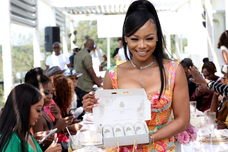 Bonang Matheba at the launch of the House of BNG's canned wine launch.