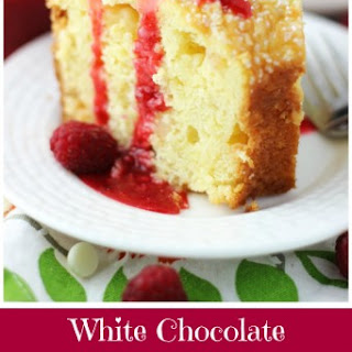 White Chocolate Macadamia Coconut Bundt Cake with Raspberry Syrup.