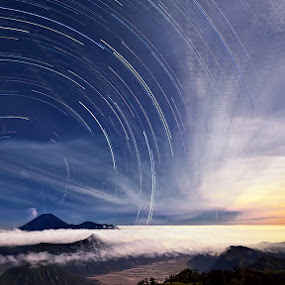 Star Trails with Moon Set in Mount Bromo by Justin Ng - Landscapes Starscapes