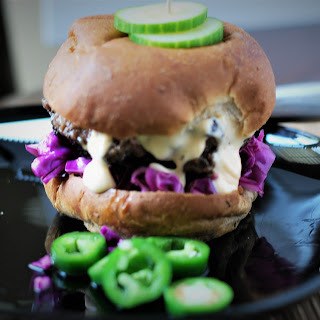 Burgers with Quick Red Cabbage Slaw and Sirracha Lime Mayo Recipe