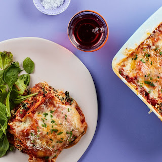 Microwave Lasagna With Spinach, Mushrooms, and Three Cheeses recipe | Epicurious.com.