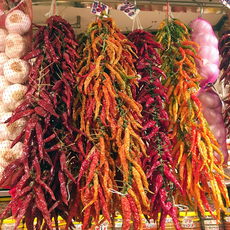 Chili peppers sold at St. Joseph's Market (click to enlarge).