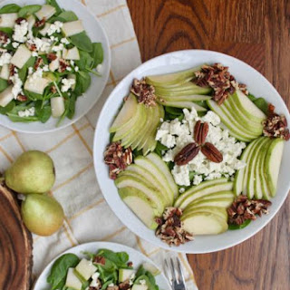 Spinach, Pear and Toasted Pecan Salad with Boursin Cheese.