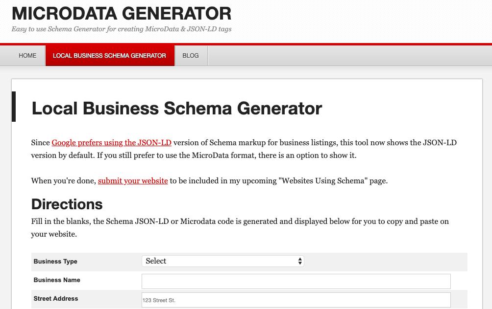 local business schema generator