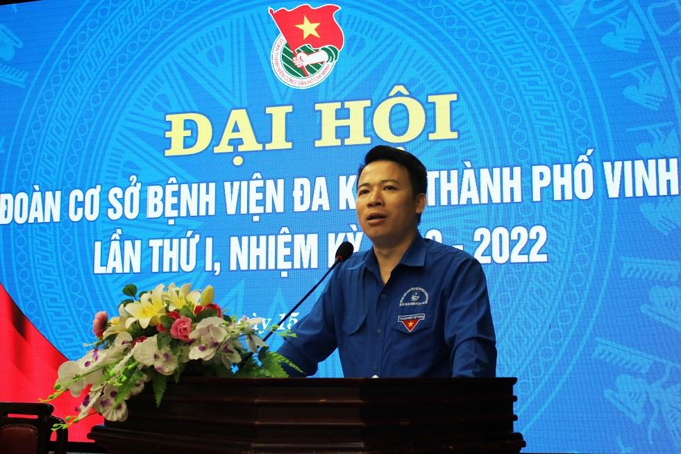 Đồng chí Nguyễn Bá Thắng, Phó Bí thư Thành đoàn phát biểu tại Đại hội