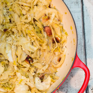 Beer Braised Cabbage with Bacon.