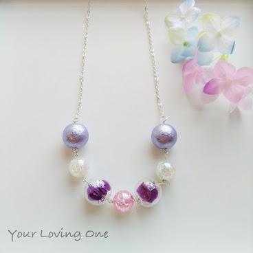 紫色繡花玻璃球頸鏈