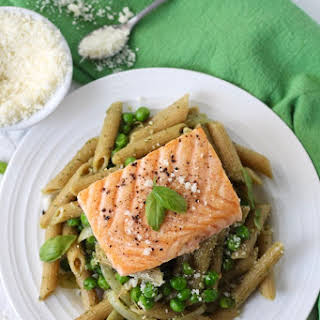 Pesto Salmon Pasta with Peas.