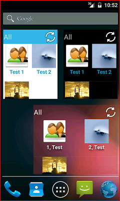 Contacts in a list widget - screenshot