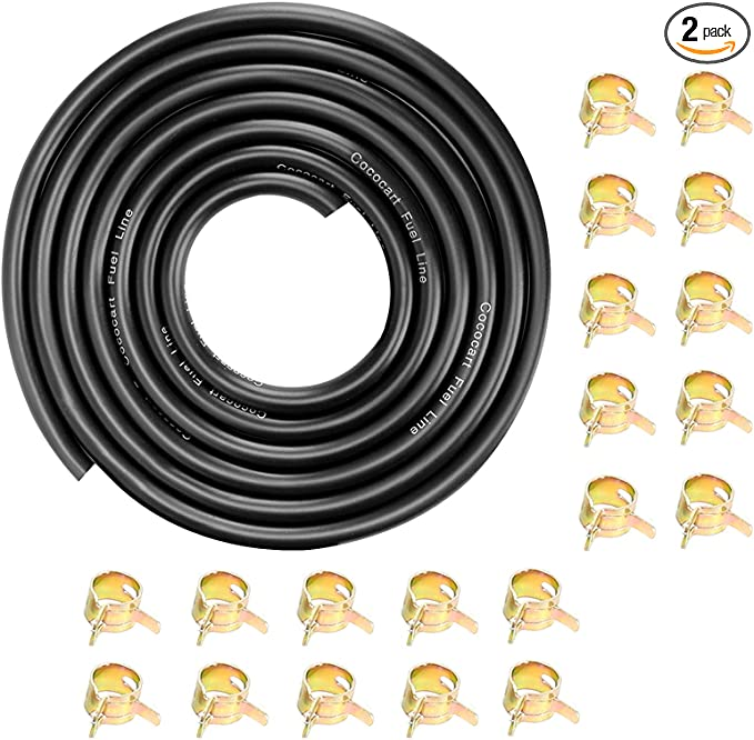 """CocoMocart 9.85-Foot Length Stretchy 1/4 Inch ID Fuel Line+20pcs 2/5"""" ID Hose Clamps for Kawasaki Kohler Briggs & Stratton Small Engines"""