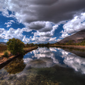 Trebišnjica by Branislav Rupar - Landscapes Waterscapes ( water, clouds, blue, sea, bridge, panorama, river )
