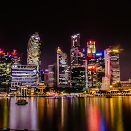Night Skyline at Marina Bay by Lye Danny - City,  Street & Park  Night