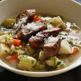 Root Vegetable Soup With Sizzled Sausage