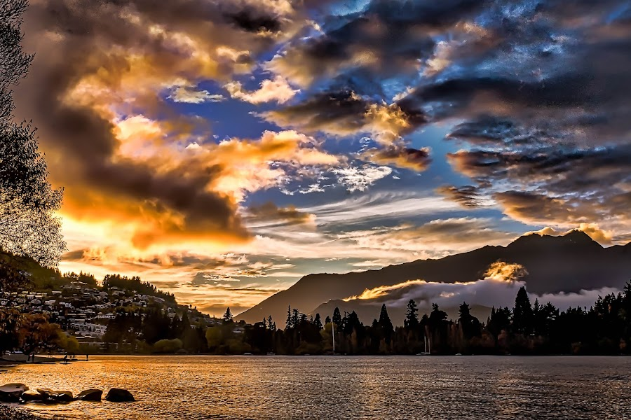 Sunrise over the Mountain by Keith Walmsley - Landscapes Sunsets & Sunrises ( water, clouds, mountain, nature, trees, sunrise, landscape )