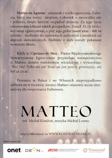 Tył ulotki filmu 'Matteo'