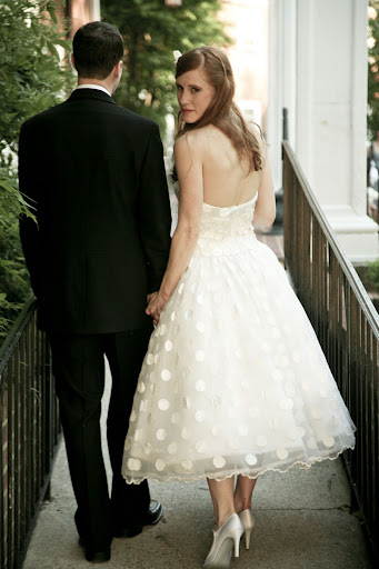Ivory, Tea Length Wedding Gown Polkadot Style