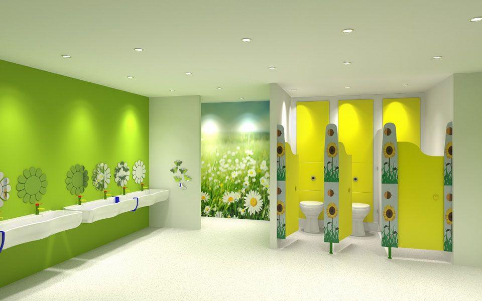 Khu vực vệ sinh của trường mầm non sạch sẽ và đảm bảo an toàn