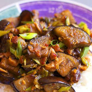 Hunan Eggplant with Bacon and Shiitakes.
