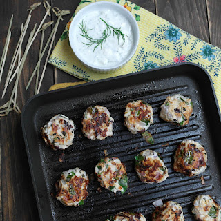 Grilled Greek Chicken Meatballs & Tzatziki Sauce