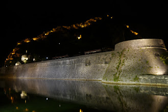Photo: Kotor old town fortifications lit up at night