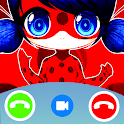 Calling Lady bug Fake Call video& Chat icon