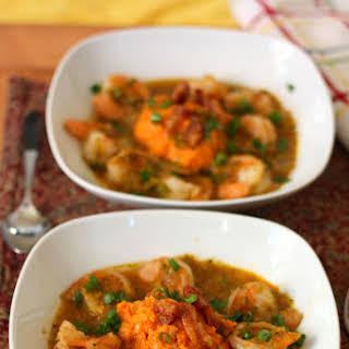 Sweet Potato Mofongo with Sofrito Shrimp.
