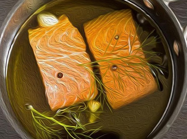 Put the salmon in skillet, and bring the water to a slow simmer.   Tightly...
