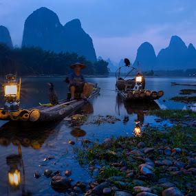 Fisherman's light by Sherry Zhao - Landscapes Travel ( mountain, riverside, travel, landscape, light, evening )