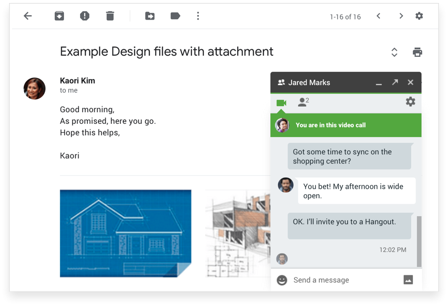 Elevate email conversations with chat and video