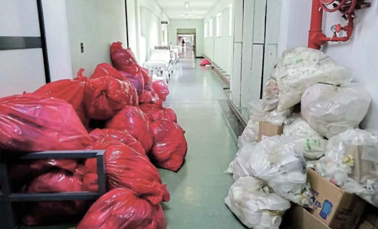 Corridors at Livingstone Hospital were filled with uncollected waste and dirty linen on Friday