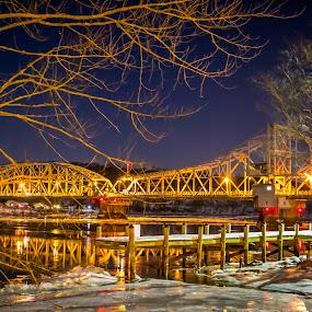 Bridge at Night by Olga Gerik - Buildings & Architecture Bridges & Suspended Structures ( winter, ice, bridge )