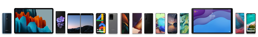 Eine Reihe von Android-Geräten, von Smartphones bis hin zu Tablets