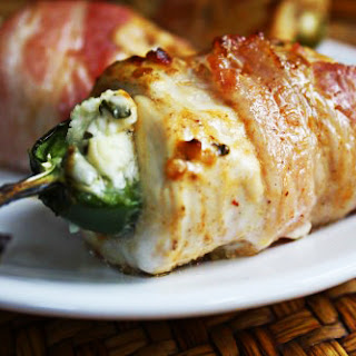 Bacon-Wrapped Lime-Chipotle Chicken Stuffed with Jalapeño Poppers.