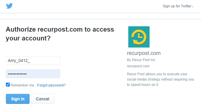 Reconnecting your Twitter account - recurpost - social media scheduling tool