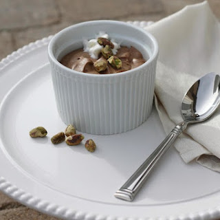 Chocolate Mousse with Pistachio and Cream.