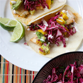 "Fish Tacos with Mango-Acovado relish, Red Cabbage Slaw, and Chipotle Lime ""Crema"""